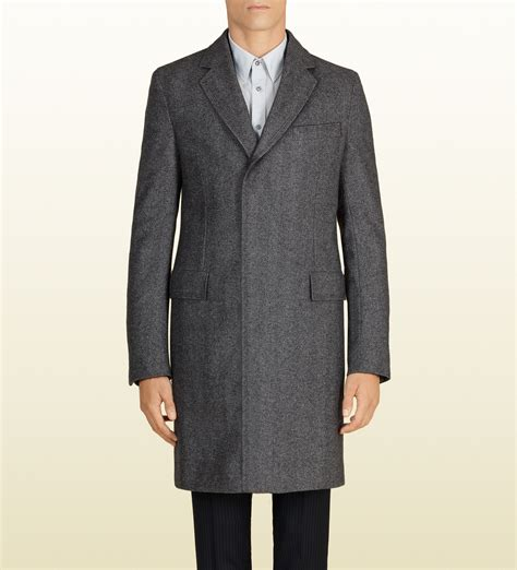 gucci wool overcoat in gray for lyst