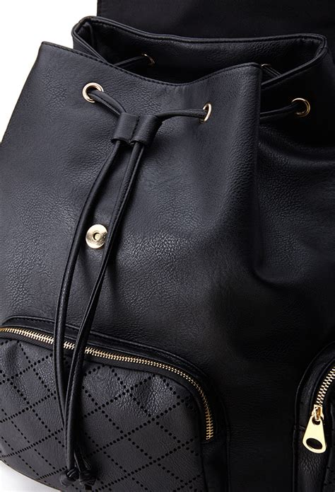 Faux Leather Backpack forever 21 laser cut faux leather backpack in black lyst