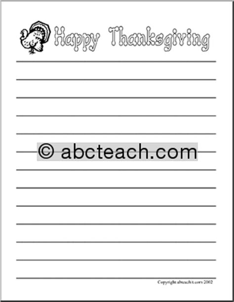 thanksgiving lined writing paper writing paper happy thanksgiving elementary abcteach