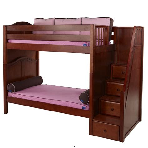 high bunk beds wopper hardwood high bunk bed with stairs in 3 finishes