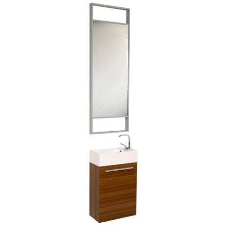 15.5 Inch Small Teak Modern Bathroom Vanity with Tall