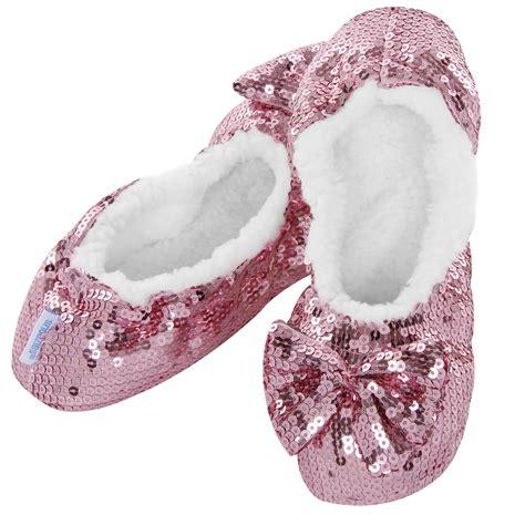 bling slippers snoozies ballerina bling sequin sherpa fleece