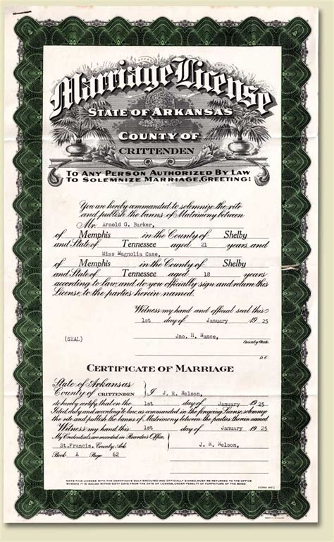 Arkansas Marriage License Records Papersponge Vintage Ephemera Postcard Paper Book Home 1925 Crittenden