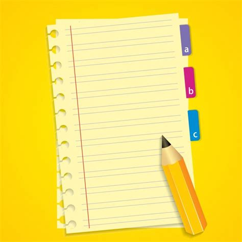 notebook background notebook and pencil background vector free