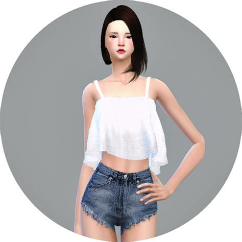 Crop Top Blouse Cc sims4 marigold ruffle sleeveless crop top sims 4 downloads