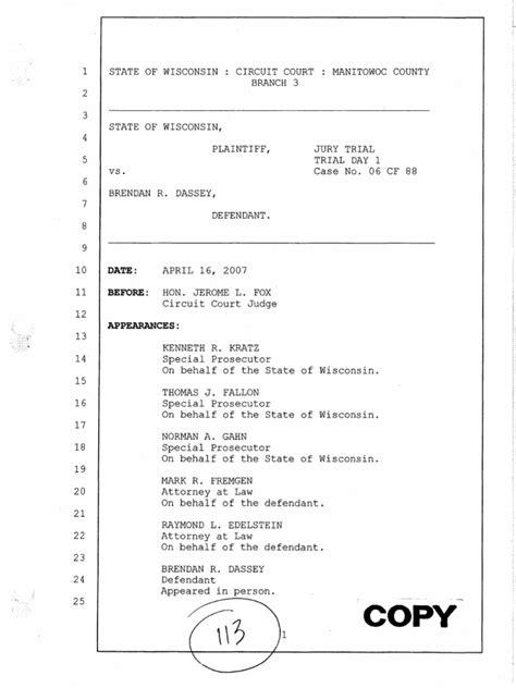 Brendan Dassey Trial Transcript 2007   Aiding And Abetting
