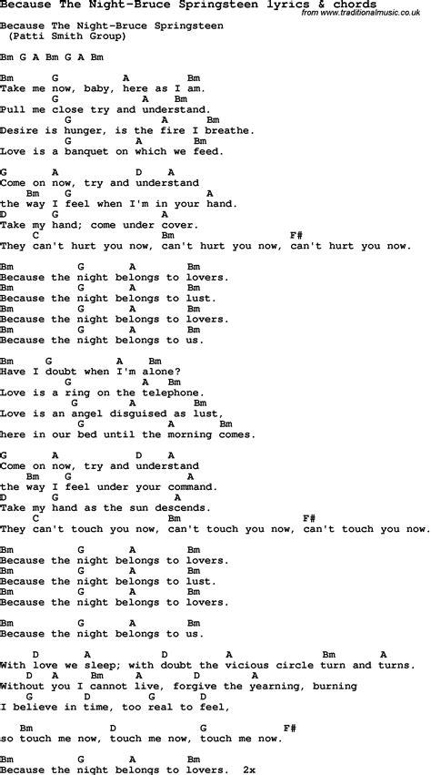 lyrics bruce springsteen song lyrics for because the bruce springsteen