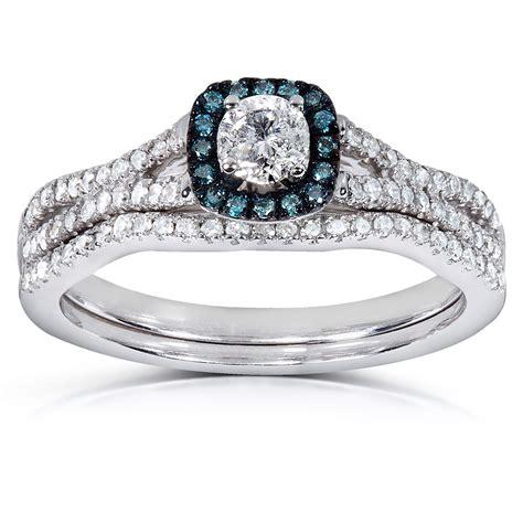 1 Carat Unique Round Diamond and Sapphire Bridal Ring Set