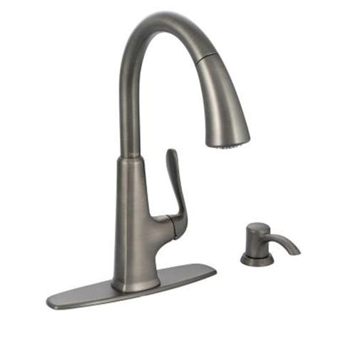 slate kitchen faucet pfister pasadena single handle pull sprayer kitchen faucet with soap dispenser in slate f