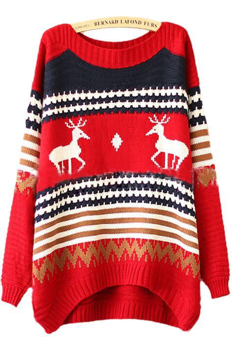 red tacky reindeer stripe pattern womens christmas