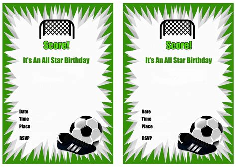 printable soccer invitation templates free printable soccer birthday party invitations home