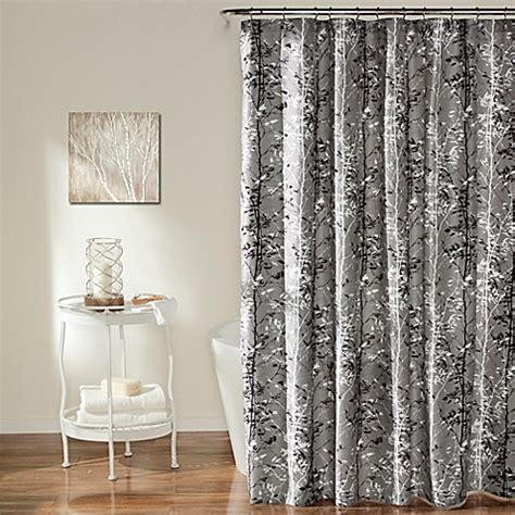 black and gray shower curtain forest shower curtain in grey black bed bath beyond
