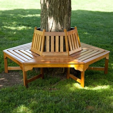 bench around tree coral coast fillmore wood outdoor hexagonal tree bench