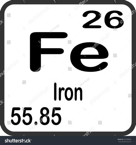 Symbol For Iron On Periodic Table by Periodic Table Elements Iron Stock Vector 379268056