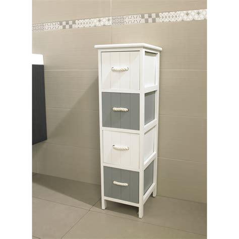 Meuble JERSEY 4 tiroirs blanc/gris   Meuble de salle de