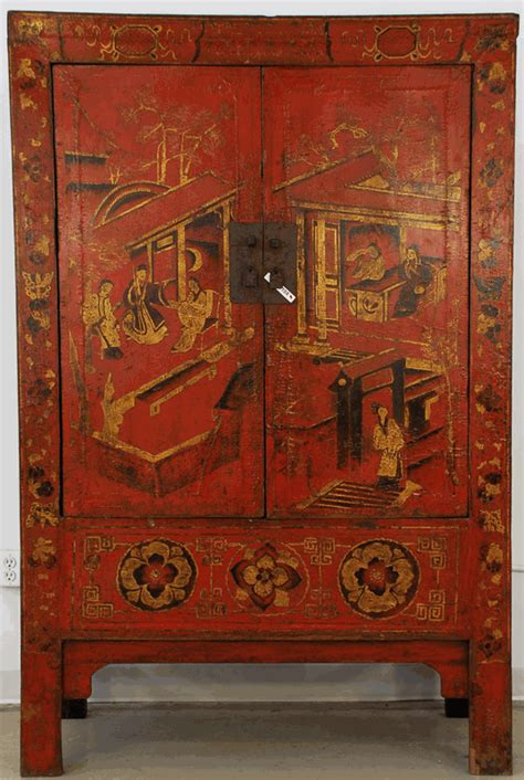 antique asian furniture red lacquered cabinet  china