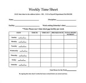 Weekly Timesheet Template Excel Free by Weekly Timesheet Template 8 Free In Pdf