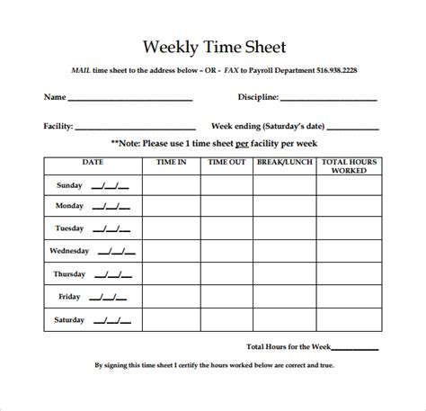 weekly timesheet templates weekly employees images