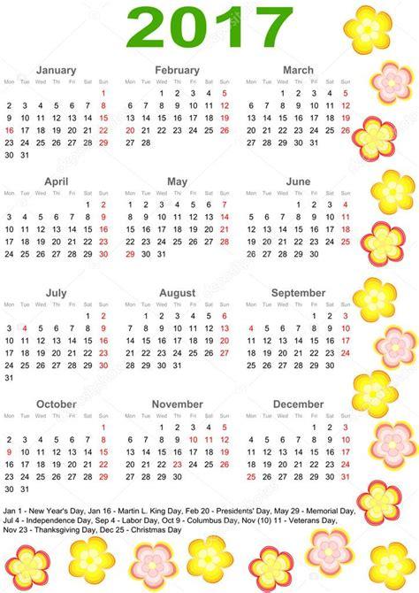 Calendario Usa Calendario 2017 Para Estados Unidos Con Flores De Colores