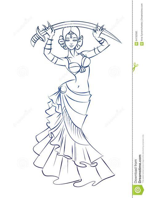 figure lines belly dancer figure gesture sketch line drawing stock