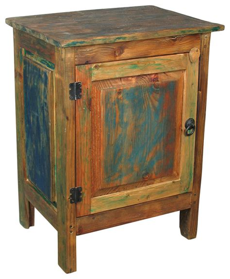 Colorful Nightstands painted wood 1 door nightstand multi color rustic nightstands and bedside tables other