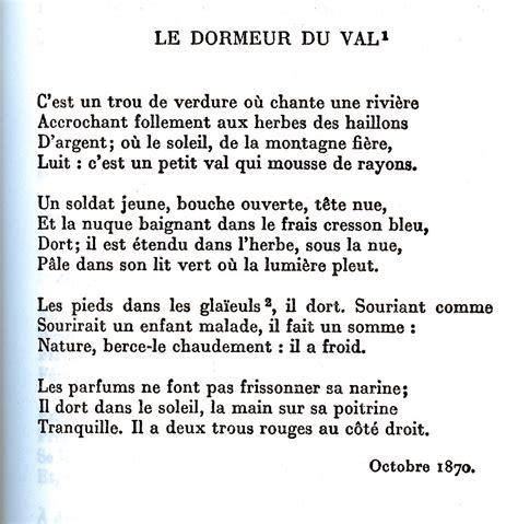 Le Dormeur Du Val Poésie by Po 232 Me Le Dormeur Du Val