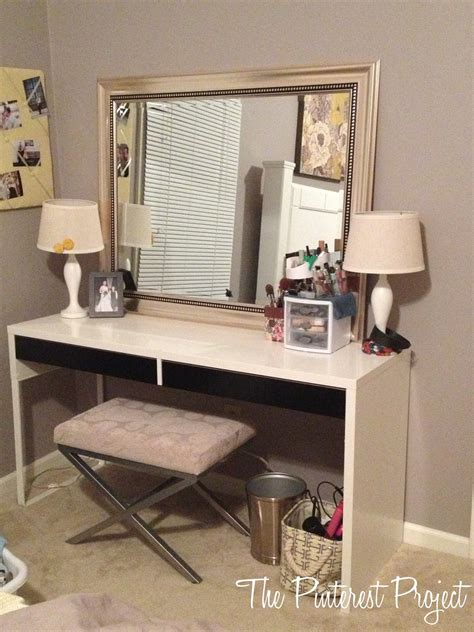 ikea hack desk into vanity the project