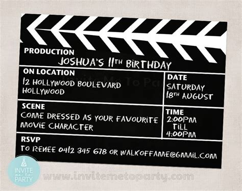 movie party invite hollywood party invite clapperboard