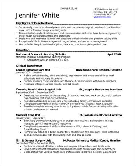 sle student nurse resume 8 exles in word pdf