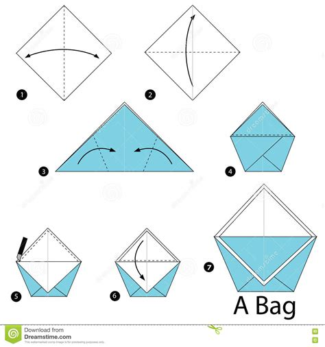 Steps To Make Paper Bag - step by step how to make origami a bag stock