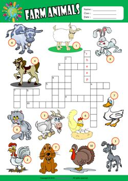 animal printable exercises farm animals crossword puzzle esl vocabulary worksheet