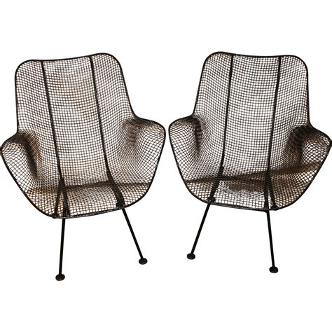 Wire Mesh Chair by Pair Of Woodard Sculptura Wire Mesh Arm Chairs