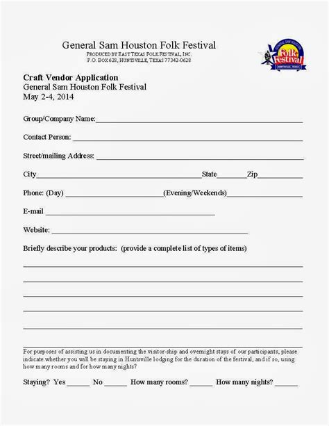 vendor application template free general sam houston folk festival