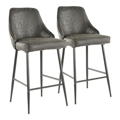 Black Faux Leather Counter Stools by Lumisource Marcel 25 In Black Metal Counter Stool With