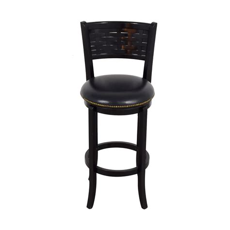 nailhead bar stool leather 84 off black leather with nailhead swivel bar stool