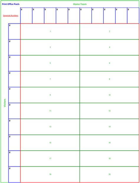 Best Numbers Office Football Pool 10x10 Football Squares Template Studio Design