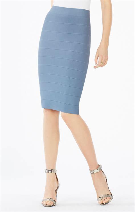 light blue pencil skirt lyst bcbgmaxazria pencil skirt in blue