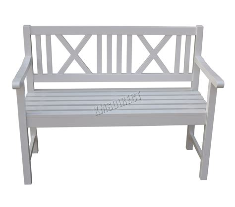 white bench foxhunter outdoor home 2 seat seater garden bench fir wood
