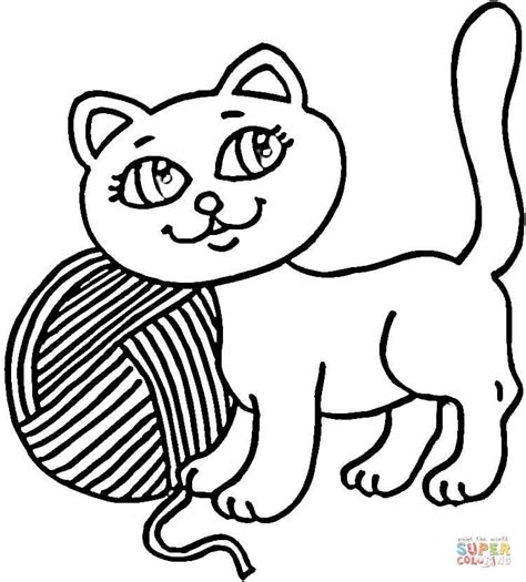 kitty  yarn coloring page  printable coloring pages
