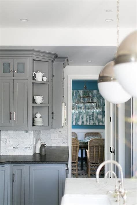 Grey Kitchen Cabinets With Black Countertops Gray Kitchen Cabinets With Honed Black Countertops