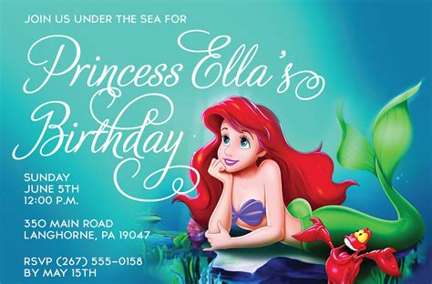 free printable birthday invitations little mermaid printable custom design invitations princess party girl invite
