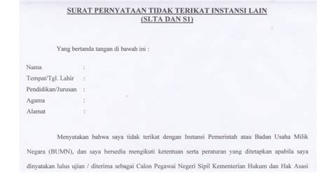 contoh surat pernyataan tidak bekerja dengan instansi