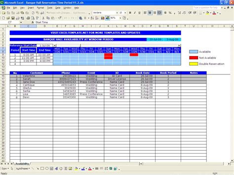 availability schedule template excel hotel reservations excel templates