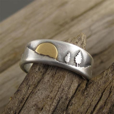 Handmade Silver Wedding Rings - gold silver mountain pines wedding ring