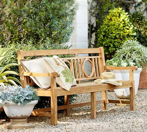 teak benches for gardens teak garden bench pottery barn