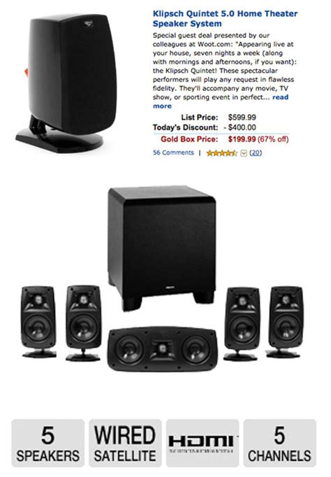 klipsch quintet 5 0 speaker system gets 400 reduction for