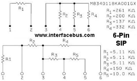 typical pull resistor glossary of electronic non standard resistor network schematic 6 pin sip package