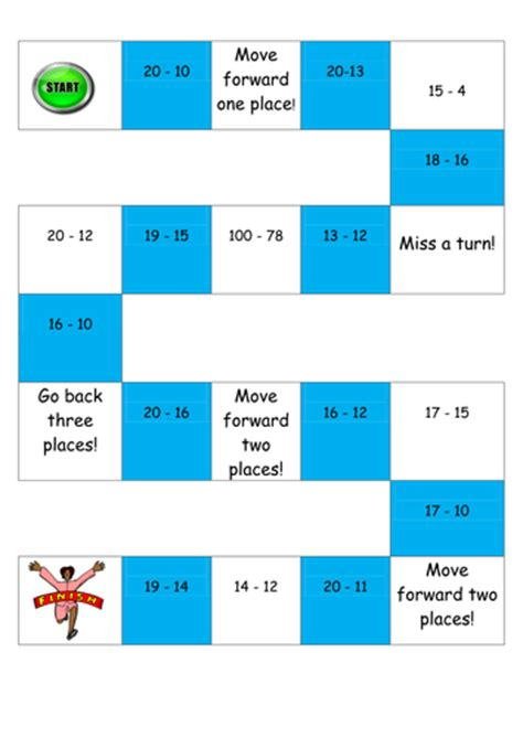 printable subtraction board games ks1 subtraction board game differentiated by alicehep