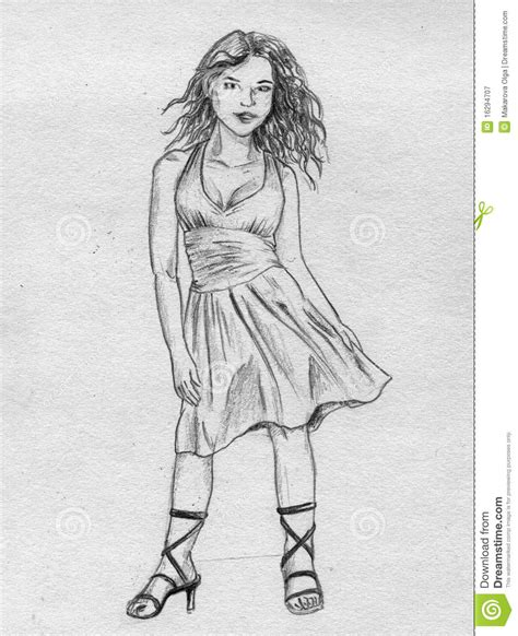 Fancy girl   sketch stock illustration. Illustration of fancy   16294707