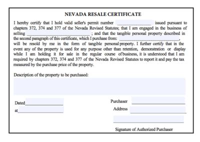 nevada id card template state resale certificate or sales tax exemption